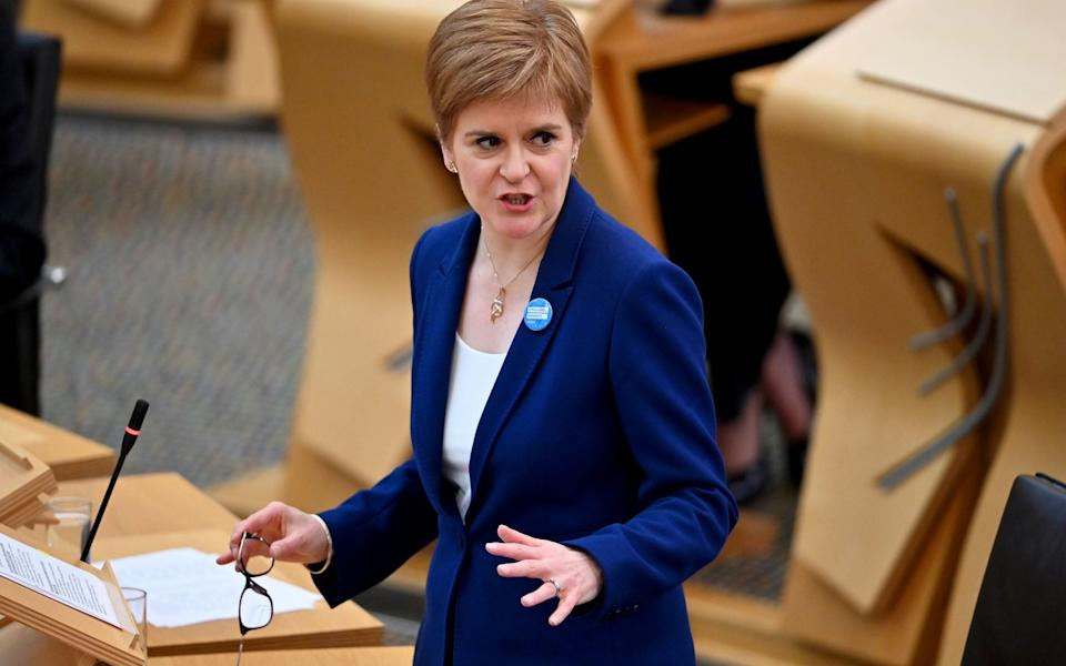 Scottish First Minister Nicola Sturgeon speaks during First Minister's Questions at the parliament in Edinburgh, Scotland - Jeff J Mitchell/Pool via Reuters