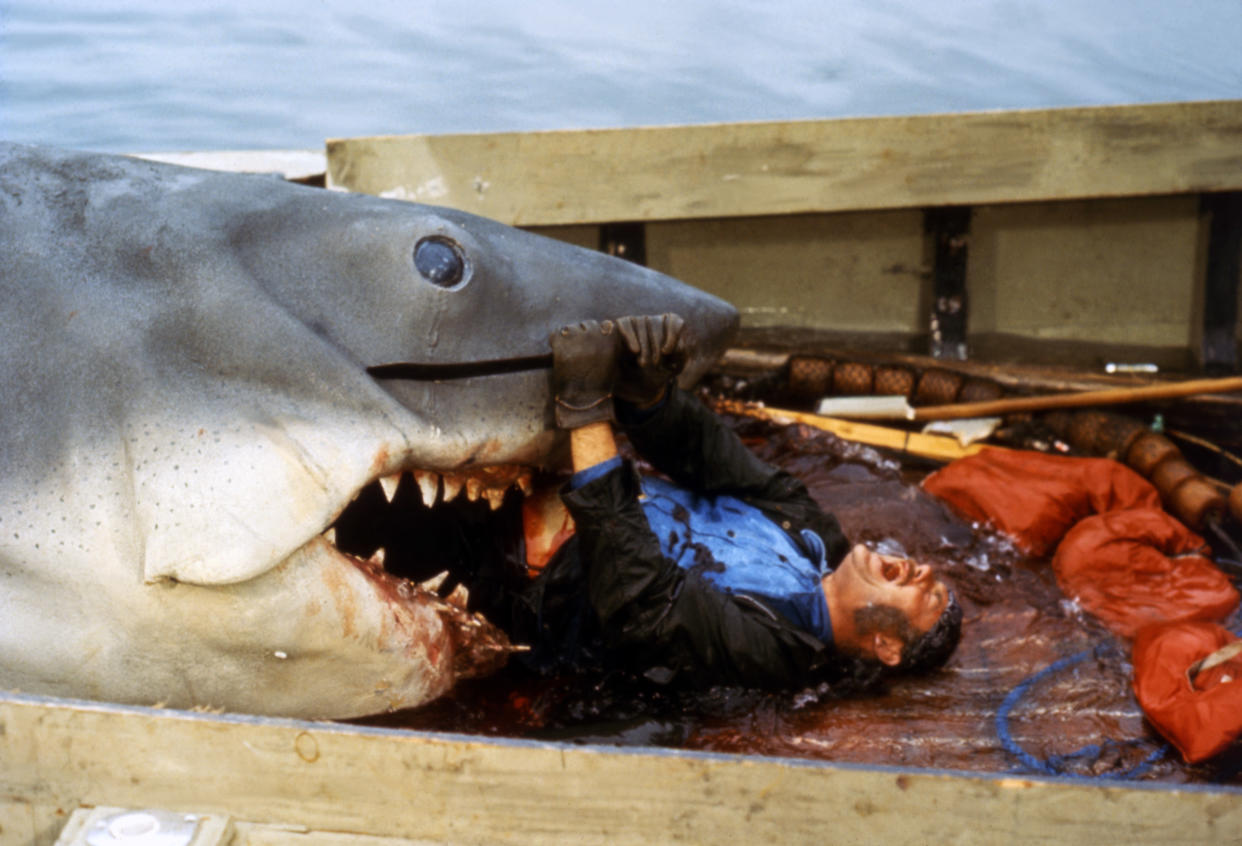 British actor Robert Shaw on the set of Jaws, directed by Steven Spielberg. (Photo by Sunset Boulevard/Corbis via Getty Images)