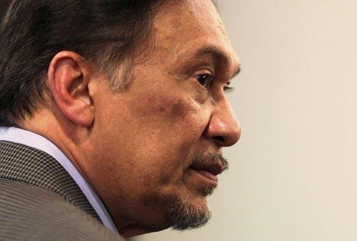 Malaysian opposition leader Anwar Ibrahim is pictured after a press conference at the Pakatan Rakyat Keadilan (PKR) headquarters in Kuala Lumpur. Anwar launched a nationwide tour ahead of a verdict in his long-running sodomy trial, to declare his innocence and campaign for a change of government