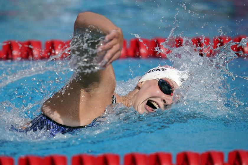 FILE - In this April 11, 2021, file photo, Katie Ledecky competes in the women's 1500-meter freestyle.