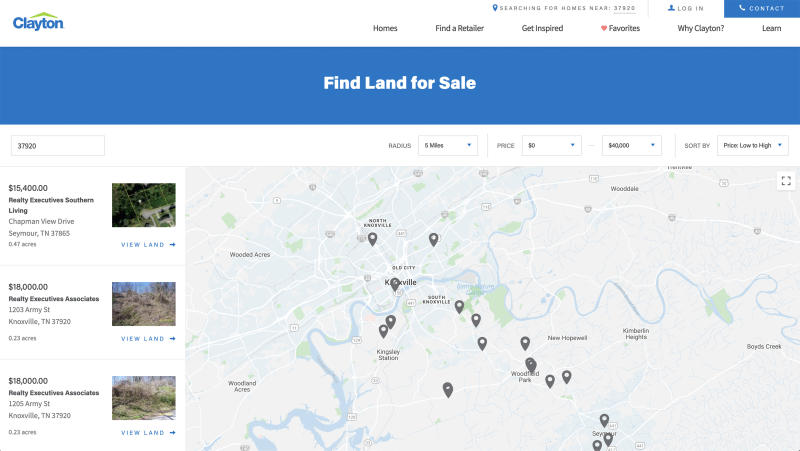 Users can filter land for sale by preferred distance from a chosen zip code and price range.