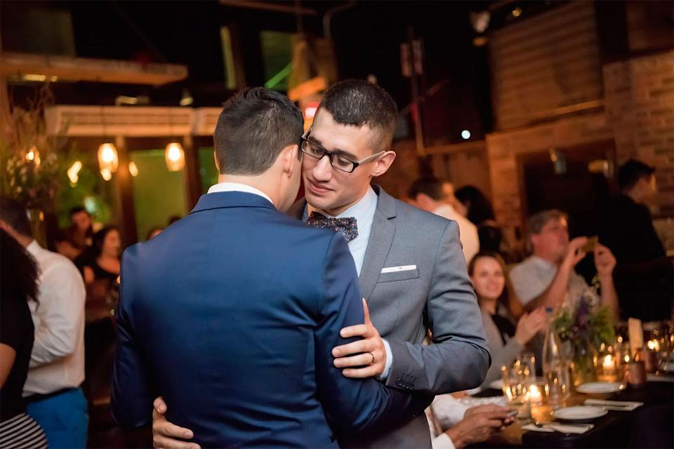 """<p>For Justin, any doubts about getting married quickly washed away when the day finally came on August 18, 2017. """"Getting married was a leap of faith. I wasn't fully convinced, as a gay person, that marriage was for me. But on our wedding day, when I saw all of our family and friends gathered together in the same place for the first time, I knew getting married was the right decision for us. Two years later, I think of that day often and with gratitude.""""</p>"""