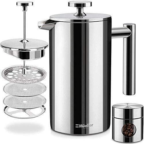<p>With a four-level filtration system, the <span>Mueller French Press Double Insulated 310 Stainless Steel Coffee Maker</span> ($30) is dishwasher safe and comes with a portable canister for storing coffee beans or grounds for travel. </p>