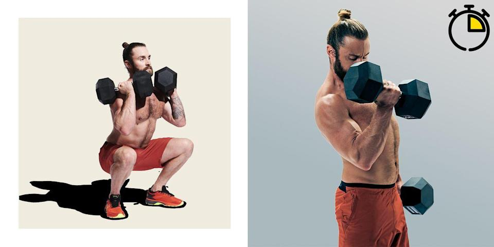 <p><strong>You'll need: Floor space, two dumbbells</strong></p><p>These squat variations will create a post-exercise oxygen deficit that will leave you burning calories for hours afterwards. You'll have to take the lift for a few days, though. As always, pay close attention to your form, and complete this circuit as many times as you can in the space of 15 minutes. Just as before, the most effective way to bump up your score is to cut down on your rest times.</p><p><strong>Overhead Squat: 5 Reps</strong></p><p>Press a pair of dumbbells overhead, locking your arms out and standing with your feet slightly wider than your shoulders. Push your hips back and bend your knees, squatting until your thighs are parallel to the floor. Maintaining an upright torso, drive your heels into the floor to push up to the start.</p><p><strong>Front-Rack Squat: 10 Reps</strong></p><p>As soon as you complete your last overhead squat, lower the dumbbells onto your shoulders under control and take a deep breath. Now, drive your hips back and sink down into a squat, your thighs parallel to the floor. Drive upward, and go again for nine more reps.</p><p><strong>Goblet Squat: 15 Reps</strong></p><p>Now, carefully drop one dumbbell and hold the other vertically, keeping it close to your chest with your hands cupping the top of the weight. Squat as before. The load may be lighter but you're already fatigued, so keep it steady and recover before your next round of overheads.</p>