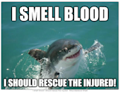 """<div class=""""caption-credit""""> Photo by: QuickMeme.com</div><b>I Smell Blood</b> <br> And he doesn't want to attack, but he wants to help someone out."""
