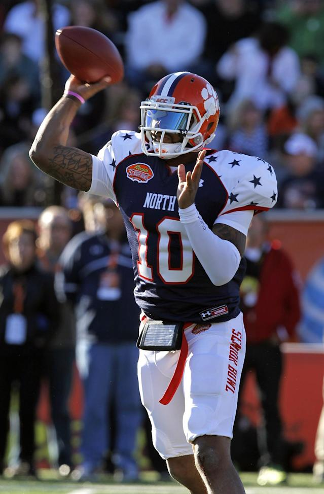 North quarterback Tajh Boyd, of Clemson, throws a pass during the first half of the Senior Bowl NCAA college football game against the South team on Saturday, Jan. 25, 2014, in Mobile, Ala. (AP Photo/Butch Dill)