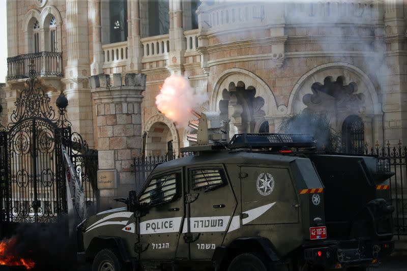 Palestinians hold anti-Israel protests, in Bethlehem