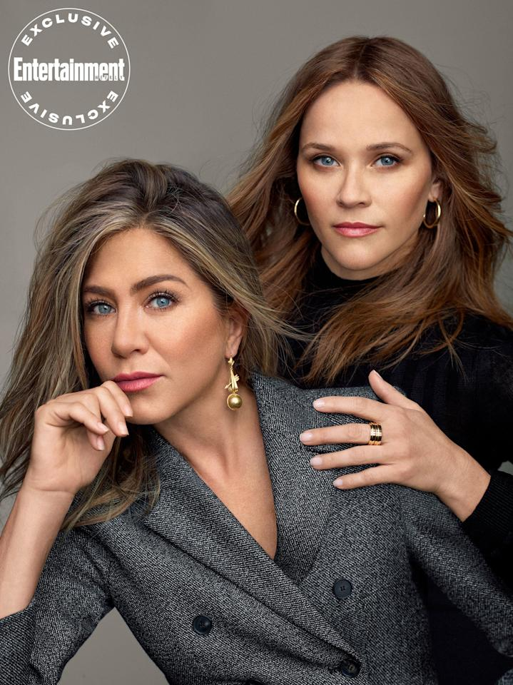 Jennifer Aniston and Reese Witherspoon will reunite for the first time since working together on <em>Friends</em> on Apple's upcoming series, <em>The Morning Show</em>. Here, the pair is photographed for EW's October issue.