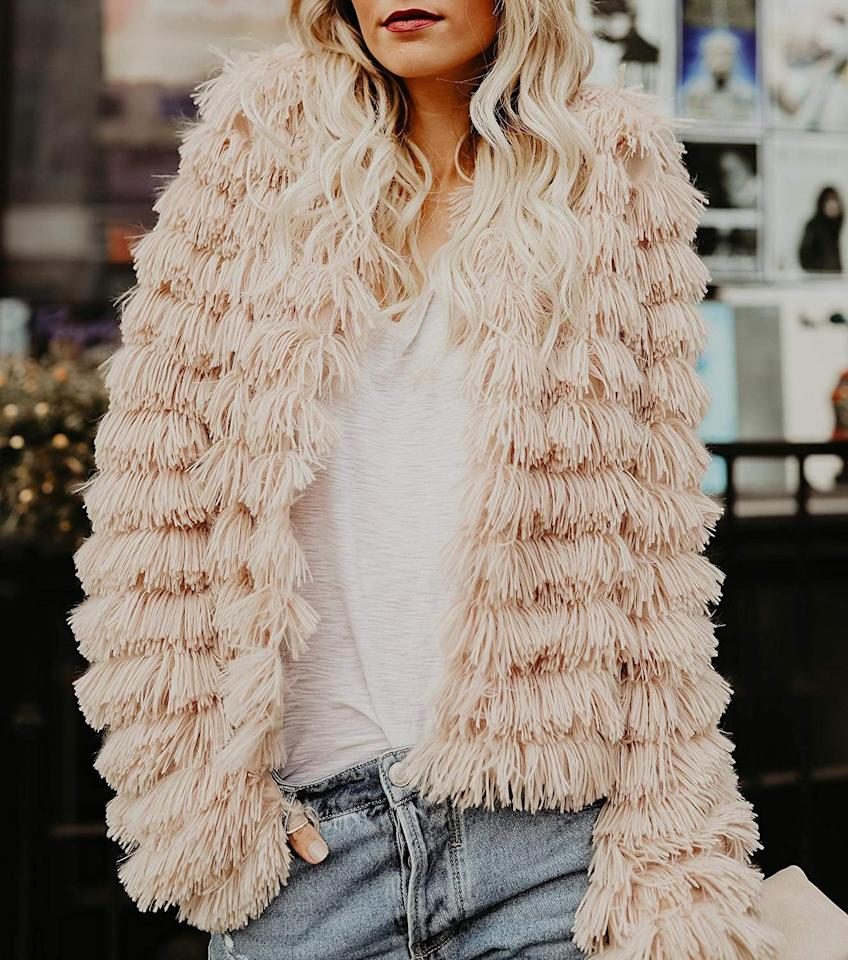 """<p>This <product href=""""https://www.amazon.com/dp/B076J7SM2N?utm_campaign=likeshopme&amp;ref=tsm_1_ig_s_fshn_cloiffringejacket09252019&amp;utm_medium=instagram&amp;utm_source=dash%2Bhudson&amp;utm_content=www.instagram.com%2Fp%2FB2188DeBHoU%2F&amp;th=1&amp;psc=1"""" target=""""_blank"""" class=""""ga-track"""" data-ga-category=""""internal click"""" data-ga-label=""""https://www.amazon.com/dp/B076J7SM2N?utm_campaign=likeshopme&amp;ref=tsm_1_ig_s_fshn_cloiffringejacket09252019&amp;utm_medium=instagram&amp;utm_source=dash%2Bhudson&amp;utm_content=www.instagram.com%2Fp%2FB2188DeBHoU%2F&amp;th=1&amp;psc=1"""" data-ga-action=""""body text link"""">Lovaru Shaggy Jacket</product> ($30) is so cute - and comes in several colors.</p>"""