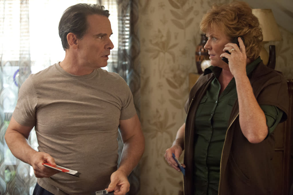 "Peter Scolari and Becky Ann Baker in the ""Girls"" Season 2 episode, ""Video Games."""