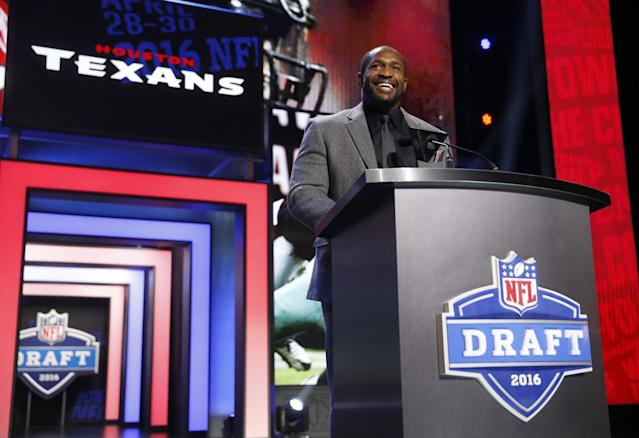 No podium necessary: the Texans' Day 3 draft picks will be announced from outer space. (AP)