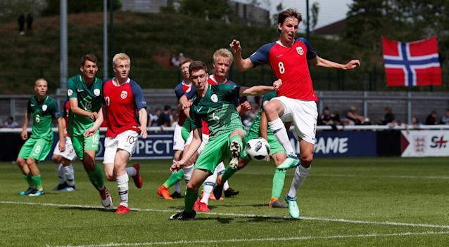Soccer Football - UEFA European Under-17 Championship - Group B - Norway v Slovenia - Loughborough University Stadium, Loughborough, Britain - May 10, 2018 Norway's Kristoffer Askildsen in action with Slovenia's Jost Urbancic Action Images via Reuters/Andrew Boyers