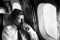 <p>Senator John F. Kennedy photographed aboard his plane during his presidential campaign.</p>