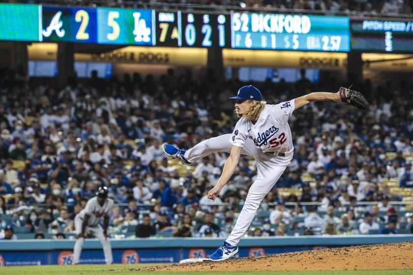 Los Angeles, CA, Monday, August 30, 2021 - Los Angeles Dodgers starting pitcher Phil Bickford (52) pitches the seventh inning against the Braves at Dodger Stadium. (Robert Gauthier/Los Angeles Times)