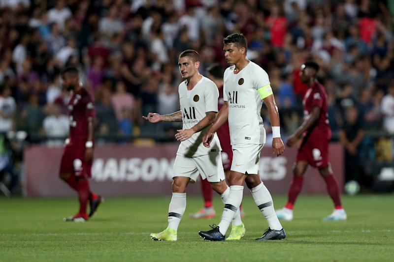 METZ, FRANCE - AUGUST 30: Marco Verratti of Paris Saint-Germain and Thiago Silva of Paris Saint-Germain looks on during the Ligue 1 match between FC Metz and Paris Saint-Germain at Stade Saint-Symphorien on August 30, 2019 in Metz, France. (Photo by TF-Images/Getty Images)