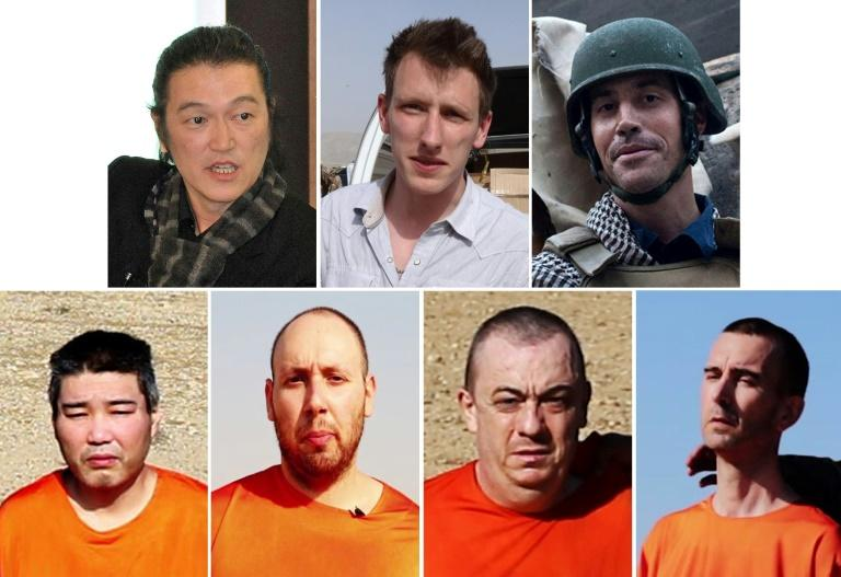 "Victims of the Islamic State kidnapping and beheading gang known as ""The Beatles"": (Top L to Bottom R) Japanese freelance video journalist Kenji Goto, US aid worker Peter ""Abdel-Rahman"" Kassig, US freelance reporter James Foley, Japanese national Haruna Yukawa, US freelance writer Steven Sotloff, British national Alan Henning and British aid worker David Haines"