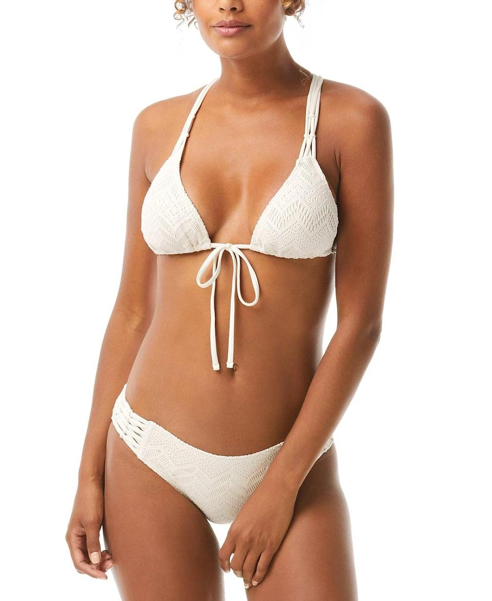 <p><span>Vince Camuto Crochet Tie-Front Triangle Bikini Top</span> ($45, originally $70 (with code FOURTH)) and <span>Vince Camuto Crochet Strappy Bikini Bottoms</span> ($37, originally $58 (with code FOURTH))</p>