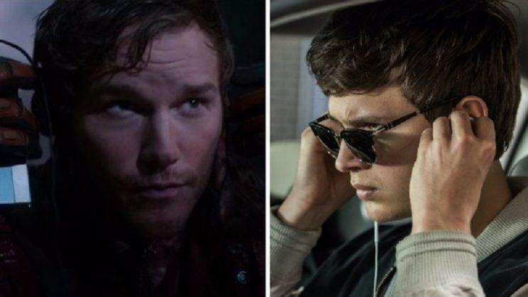 Music lovers: Chris Pratt in 'Guardians of the Galaxy' and Ansel Elgort in 'Baby Driver' (credit: Marvel Studios/Sony)