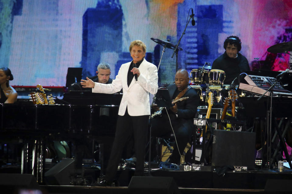 Barry Manilow performs at We Love NYC: The Homecoming Concert at The Great Lawn in Central Park on Saturday, Aug. 21, 2021, in New York. (Photo by Andy Kropa/Invision/AP)