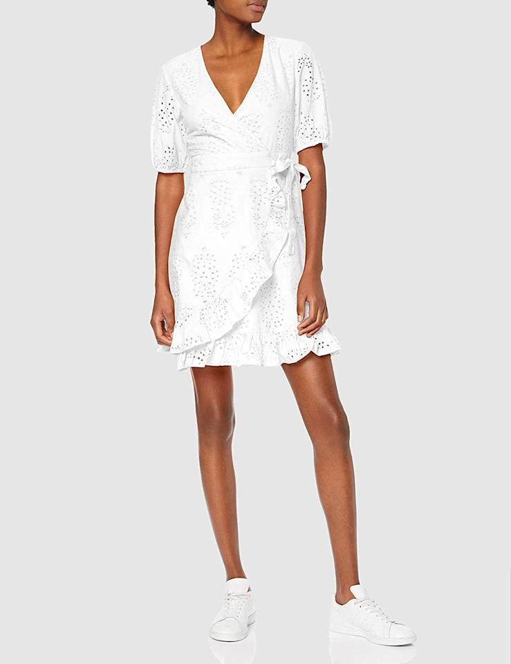 """<p>This <a href=""""https://www.popsugar.com/buy/find-Mini-Cotton-Wrap-Dress-584853?p_name=find.%20Mini%20Cotton%20Wrap%20Dress&retailer=amazon.com&pid=584853&price=20&evar1=fab%3Aus&evar9=24029131&evar98=https%3A%2F%2Fwww.popsugar.com%2Fphoto-gallery%2F24029131%2Fimage%2F47575322%2Ffind-Mini-Cotton-Wrap-Dress&list1=shopping%2Csummer%20fashion%2Cfashion%20shopping%2Cunder%20%24100&prop13=api&pdata=1"""" rel=""""nofollow"""" data-shoppable-link=""""1"""" target=""""_blank"""" class=""""ga-track"""" data-ga-category=""""Related"""" data-ga-label=""""https://www.amazon.com/find-Womens-MDR-40985-Bright/dp/B07MDFGH1M/ref=sr_1_163?dchild=1&amp;qid=1593119261&amp;refinements=p_36%3A-4500&amp;rnid=2661611011&amp;s=apparel&amp;sr=1-163&amp;th=1&amp;psc=1"""" data-ga-action=""""In-Line Links"""">find. Mini Cotton Wrap Dress</a> ($20, originally $25) is quite flattering.</p>"""