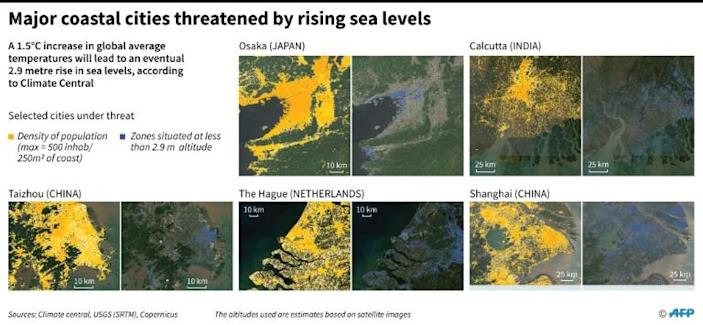 Map of population density and the risk of submerson in five major coastal cities. (AFP Photo/Sabrina BLANCHARD)