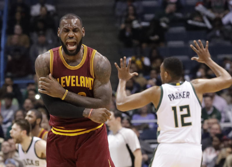 Cleveland Cavaliers' LeBron James reacts to no call being called on his shot during the second half of an NBA basketball game against the Milwaukee Bucks Tuesday, Nov. 29, 2016, in Milwaukee. (AP Photo/Morry Gash)