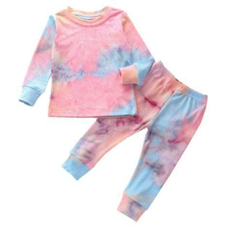"""<p><strong>Rah Love's Boutique</strong></p><p>rahlovesboutique.com</p><p><strong>$26.99</strong></p><p><a href=""""https://www.rahlovesboutique.com/collections/5t/products/tie-dye-lounge-set-pink-blue"""" rel=""""nofollow noopener"""" target=""""_blank"""" data-ylk=""""slk:Shop Now"""" class=""""link rapid-noclick-resp"""">Shop Now</a></p><p><strong>Tie dye is always trendy</strong>, and this lounge set is both cute and made from comfy cotton. It comes in other colors in sizes up to 6T. </p>"""