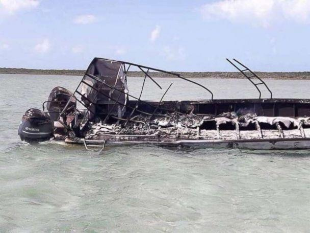 All that remained of the boat after the explosion near Exuma Bahamas which killed one person was a burned out frame
