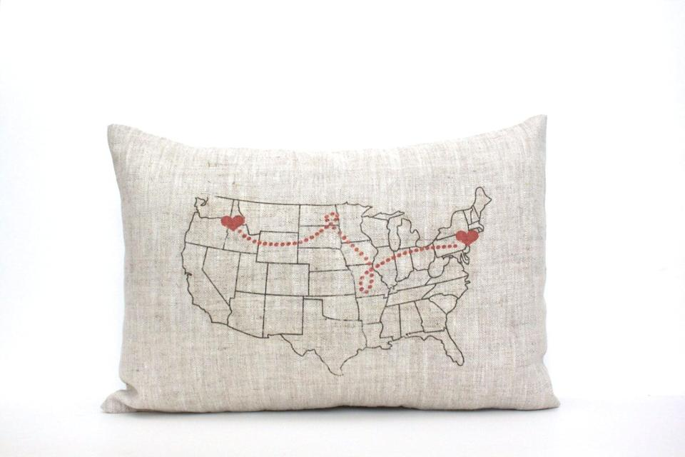 <p>Gift a map that represents their travels with the <span>Map Pillow</span> ($54, originally $60).</p>