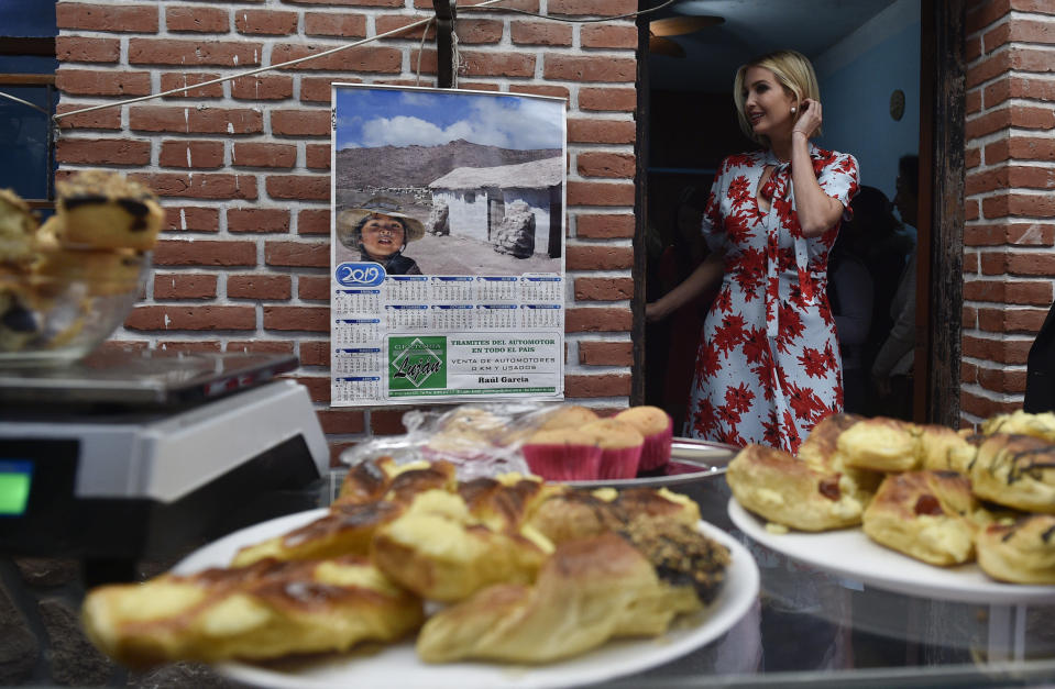 Ivanka Trump, President Donald Trump's daughter and White House adviser, leaves Graciela Cristina Alcocer's bakery in Jujuy, Argentina, Thursday, Sept. 5, 2019. Ivanka Trump is on the second stop of her South America trip aimed at promoting women's empowerment. (AP Photo/Gustavo Garello)