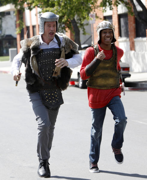 """This undated image released by NBC shows Matthew Perry portraying Ryan King, left, and Tyler James Williams as Owen in the pilot episode of """"Go On."""" Sneak peeks of NBC's new prime-time schedule will piggyback on network coverage of the 2012 Summer Olympic Games. The unveiling will begin with commercial-free sneak previews of NBC's new comedies """"Go On"""" on Aug. 8, after the evening's Olympics coverage, and of """"Animal Practice"""" on Aug. 12, following the Olympics' Closing Ceremonies. (AP Photo/NBC, Jordin Althaus)"""