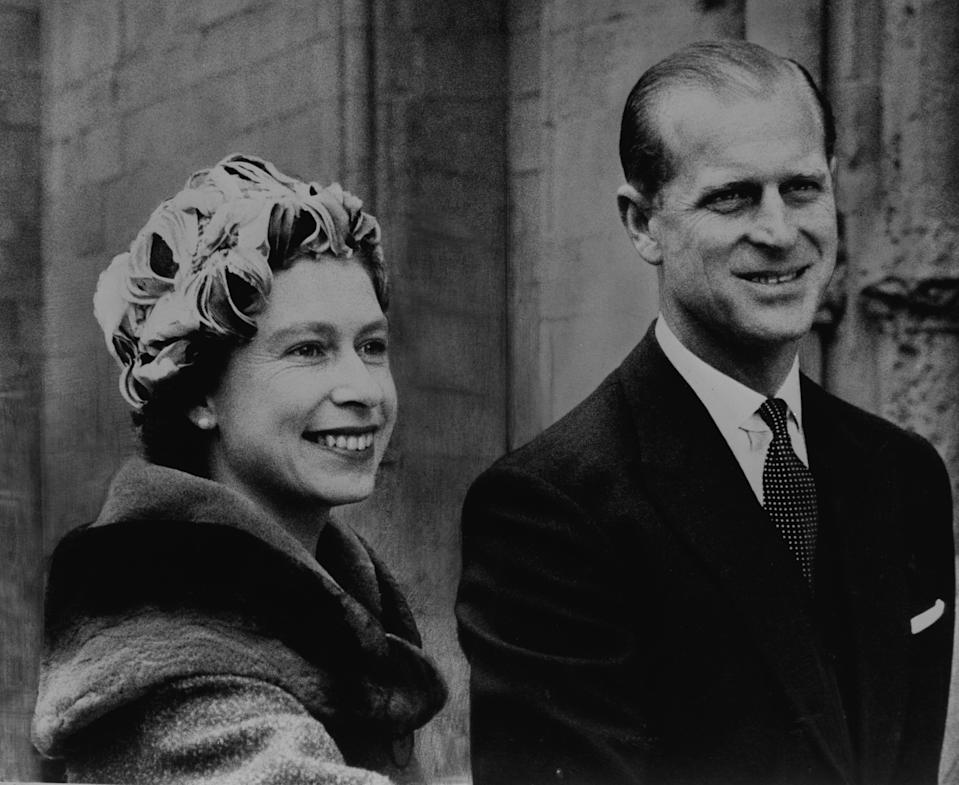 *Scanned low-res from print* Queen Elizabeth II and the Duke of Edinburgh on arrival at Rochester Cathedral to attend the Maundy Service. It was the first time the Maundy service had been held in Rochester.   (Photo by PA Images via Getty Images)
