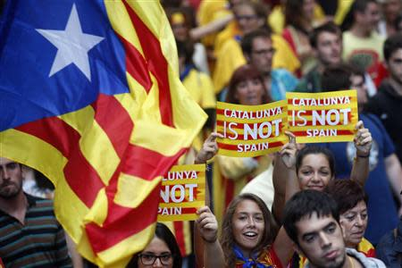 Separatist protesters demonstrate during Catalunya's National Day in central Barcelona