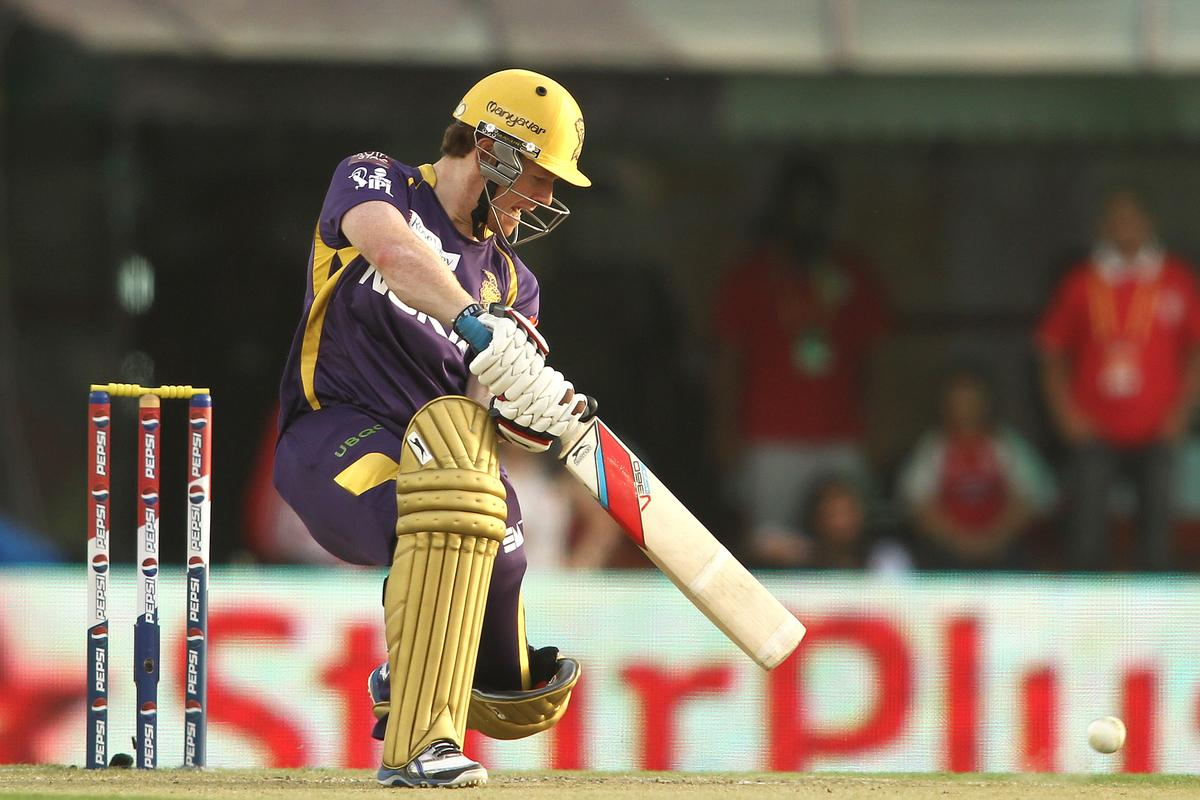 Eoin Morgan of Kolkata Knight Riders cuts a delivery square during match 20 of the Pepsi Indian Premier League between The Kings XI Punjab and the Kolkata Knight Riders held at the PCA Stadium, Mohal, India  on the 16th April 2013..Photo by Shaun Roy-IPL-SPORTZPICS  ..Use of this image is subject to the terms and conditions as outlined by the BCCI. These terms can be found by following this link:..https://ec.yimg.com/ec?url=http%3a%2f%2fwww.sportzpics.co.za%2fimage%2fI0000SoRagM2cIEc&t=1503012825&sig=Z1sobIl1ECcxxyxlfNdKxQ--~D