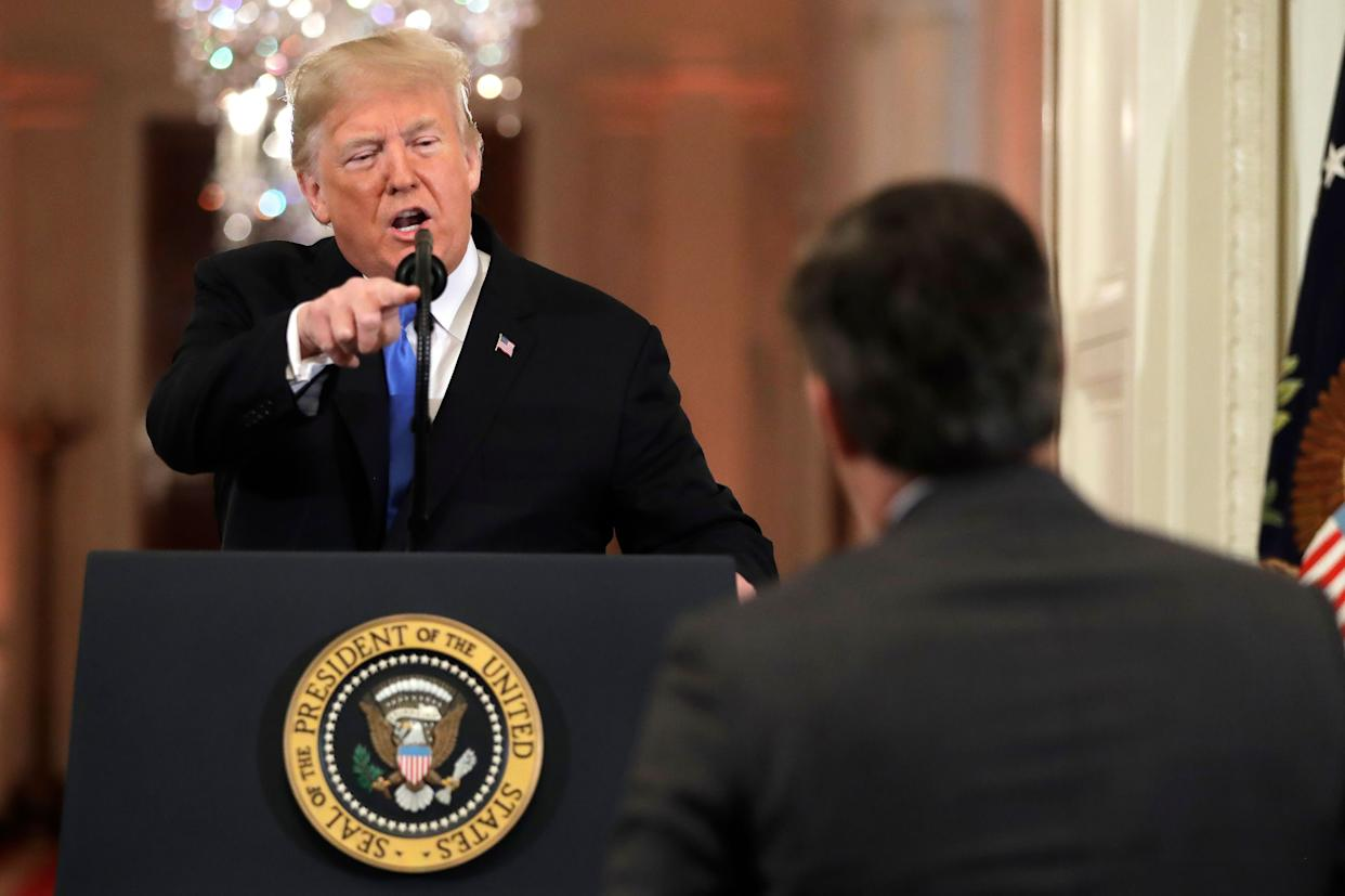 President Donald Trump points to CNN's Jim Acosta as he speaks during a news conference in the East Room of the White House last week. (Photo: THE ASSOCIATED PRESS)