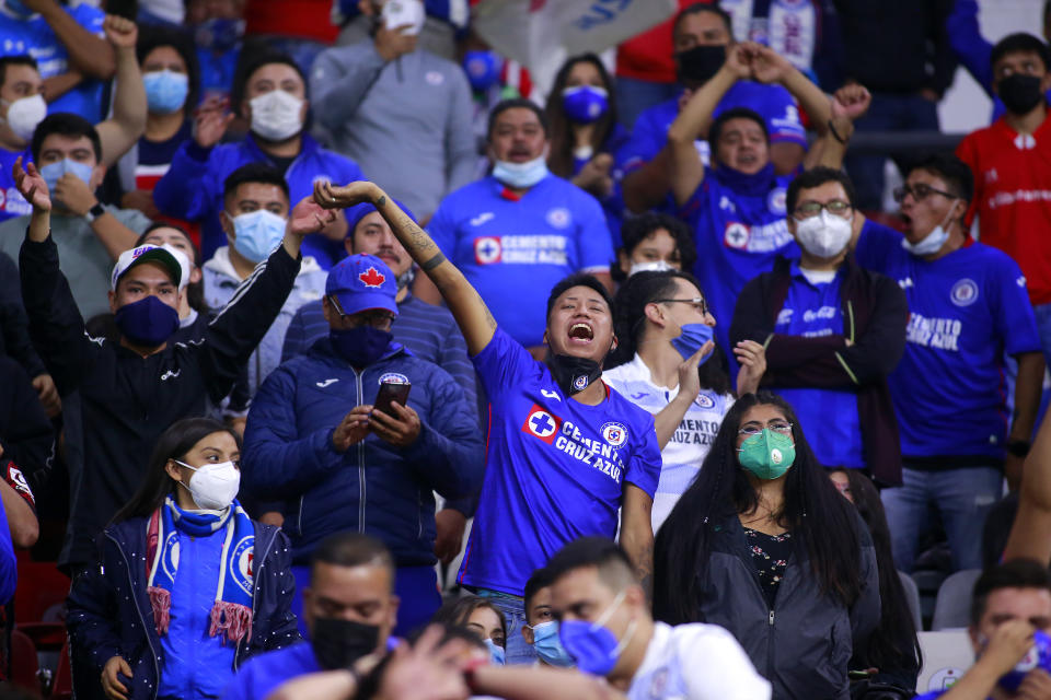 MEXICO CITY, MEXICO - MAY 15: Fans of Cruz Azul celebrate during the quarterfinals second leg match between Cruz Azul and Toluca as part of the Torneo Guard1anes 2021 Liga MX at Azteca Stadium on May 15, 2021 in Mexico City, Mexico. (Photo by Cesar Gomez/Jam Media/Getty Images)