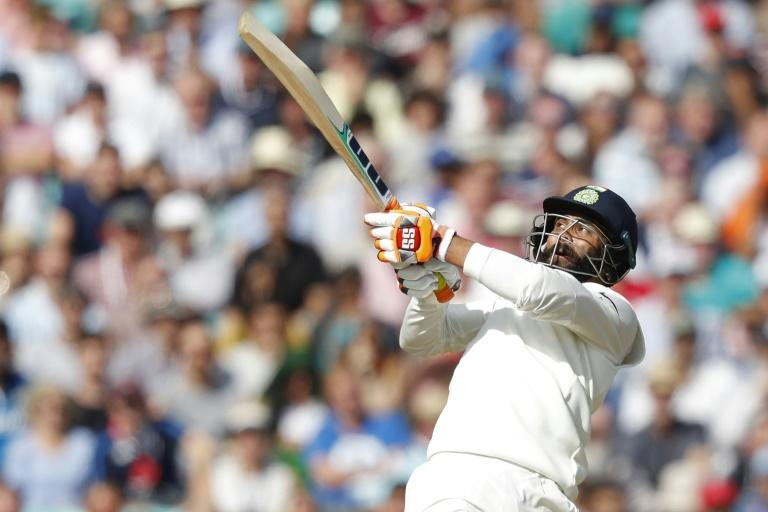 India's Ravindra Jadeja on the attack during his 86 not out against England in the fifth Test at the Oval on Sunday