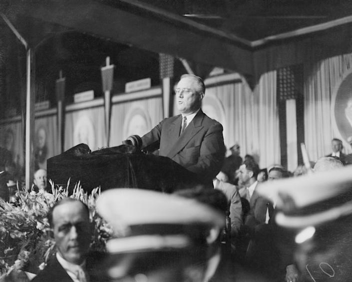 """President Franklin Rooseveltpledged a battle to the finish to wrestle the freedom of the nation from the """"royalists of the economic dynasties"""" who accused him of being a communist."""