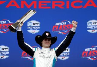 Colton Herta celebrating IndyCar win at COTA
