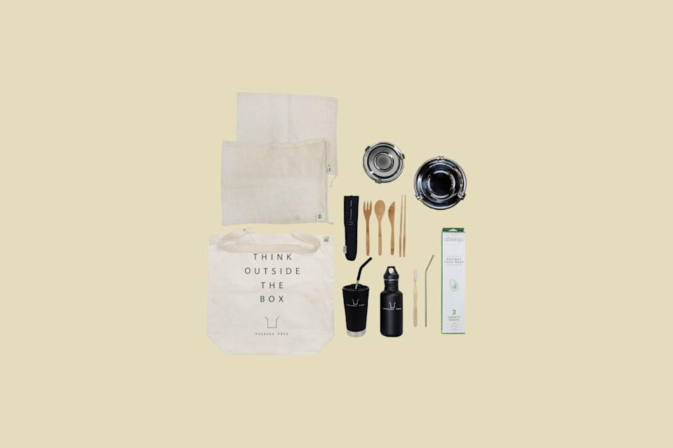 """<p>Say hello to this <a href=""""https://www.marthastewart.com/1520747/8-ways-zero-waste-home"""" rel=""""nofollow noopener"""" target=""""_blank"""" data-ylk=""""slk:zero-waste starter kit"""" class=""""link rapid-noclick-resp"""">zero-waste starter kit</a> and goodbye to disposable containers that so often end up in landfills and waterways around the world. Each set comes with everything they'll need to live a zero-waste lifestyle, from a tumbler for holding beverages and bamboo eating utensils to a stainless steel straw, produce bags, a bamboo toothbrush, and more.</p> <p><strong><em>Shop Now: </em></strong><em>Package Free Zero-Waste Starter Kit, $149, </em><a href=""""https://packagefreeshop.com/collections/zero-waste-kits/products/zero-waste-starter-kit-the-works"""" rel=""""nofollow noopener"""" target=""""_blank"""" data-ylk=""""slk:packagefreeshop.com"""" class=""""link rapid-noclick-resp""""><em>packagefreeshop.com</em></a><em>.</em></p>"""