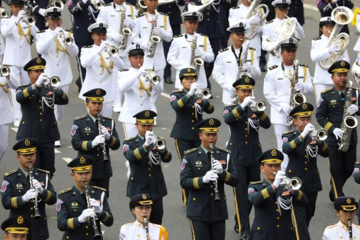 Military honour guards take part in the National Day celebrations in Taipei
