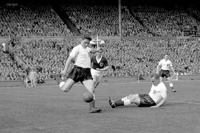 Duncan Edwards, left, added gloss to England's win over Denmark in 1956 (PA)