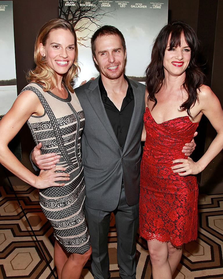 """<a href=""""http://movies.yahoo.com/movie/contributor/1800020739"""">Hilary Swank</a>, <a href=""""http://movies.yahoo.com/movie/contributor/1800021961"""">Sam Rockwell</a> and <a href=""""http://movies.yahoo.com/movie/contributor/1800019350"""">Juliette Lewis</a> at the New York Cinema Society screening of <a href=""""http://movies.yahoo.com/movie/1810071450/info"""">Conviction</a> on October 12, 2010."""