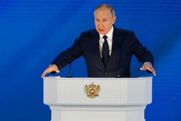 PHOTO: Russian President Vladimir Putin gives his annual state of the nation address in Manezh, Moscow, Russia, April 21, 2021. (Alexander Zemlianichenko/AP)
