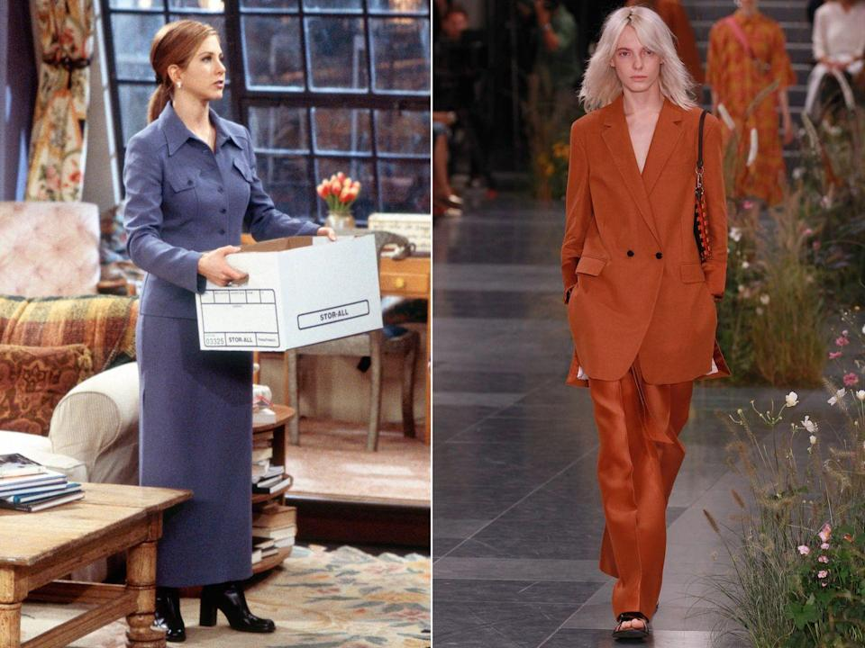 <p><strong>The moment:</strong> Season 3, episode 19</p><p>We could wax lyrical for hours about Rachel's expert office wear, particularly her vast array of skirt and trouser suits. This particular ensemble though feels particularly contemporary with its matchy-matchy colours and boxy shape and isn't dissimilar to what's being seen on the catwalks in Stockholm and Copenhagen. </p>