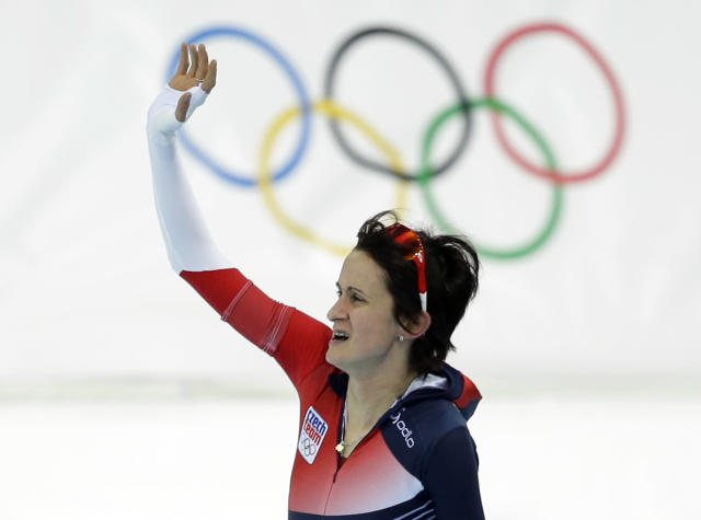 Martina Sablikova of the Czech Republic acknowledges the crowd after competing in the women's 5,000-meter speedskating race at the Adler Arena Skating Center during the 2014 Winter Olympics in Sochi, Russia, Wednesday, Feb. 19, 2014. (AP Photo/Patrick Semansky)
