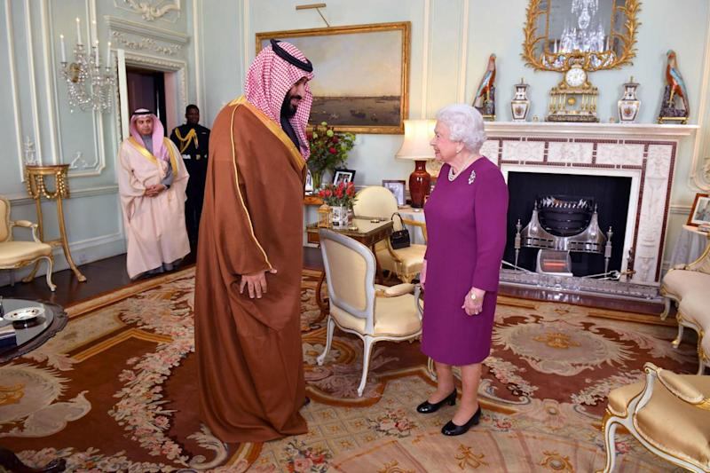 Royal circles: Crown Prince Mohammed bin Salman meeting the Queen yesterday (AFP)