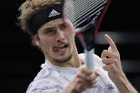 Germany's Alexander Zverev returns the ball to Russia's Daniil Medvedev during the Paris Masters tennis tournament final, Sunday, Nov. 8, 2020 in Paris. (AP Photo/Christophe Ena)