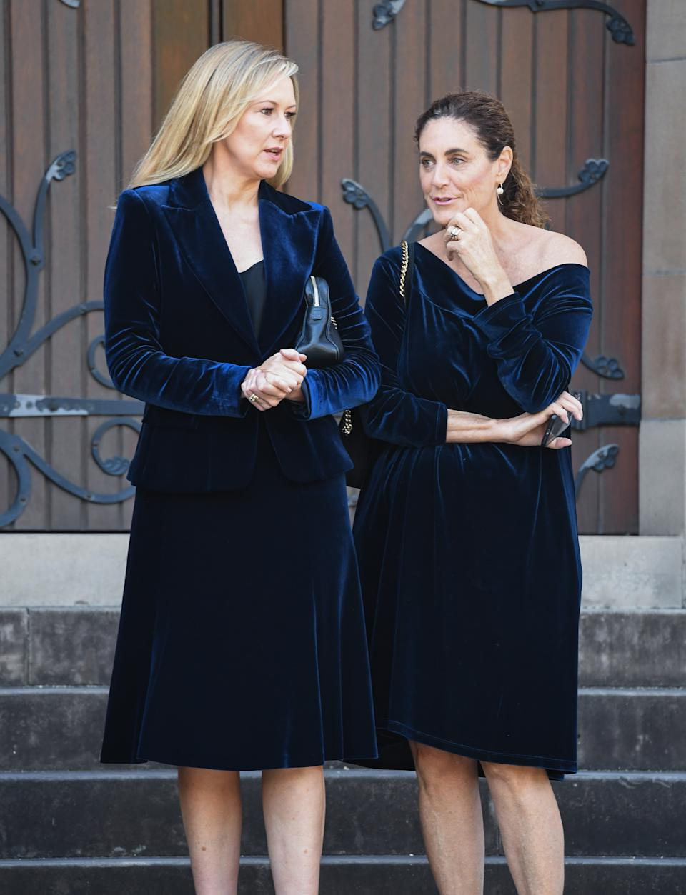 Melissa Doyle talks to Jackie Franks as they attend the State Funeral for Carla Zampatti at St Mary's Cathedral on April 15, 2021 in Sydney, Australia.