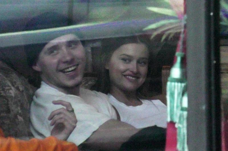 Brooklyn seemed very happy as he sat beside his new love interest. Source: Backgrid